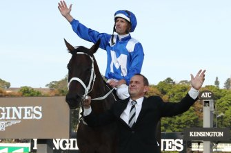 Winx with Chris Waller after she farewelled racing a winner in the Queen Elizabeth Stakes