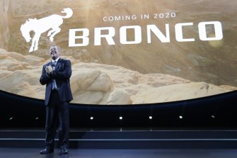 Ford Executive Vice President and President of the Americas for Ford Motor Company, Joe Hinrichs announces plans for a 2020 Bronco at the North American International Auto show in Detroit four years ago.