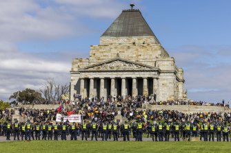Police respond to a protest at the Shrine of Remembrance on Wednesday.