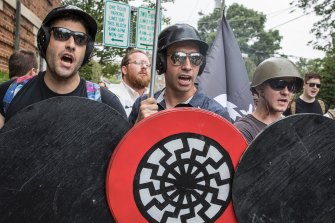White nationalists at the Charlottesville rally in 2017, which turned deadly. Russia has built links to far-right groups in the US.