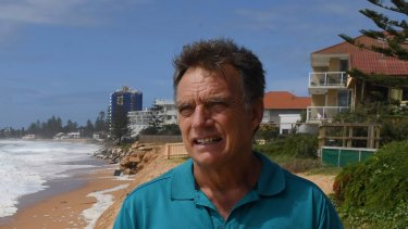 Gary Silk along the Narrabeen-Collaroy coastline which has suffered serious erosion again after storm surges.