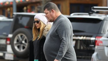 James Packer in Aspen with his partner Kylie Lim last month. The reclusive billionaire flew into Sydney on Wednesday.