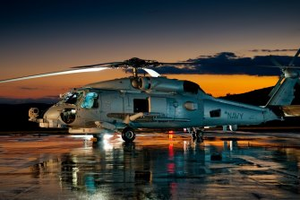 A US Navy Sikorsky MH-60R Seahawk helicopter.
