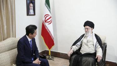 Japanese Prime Minister Shinzo Abe, left,  meets with Iran's Supreme Leader Ayatollah Ali Khamenei, on Thursday.