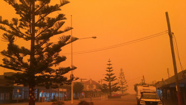 The sky in Eden and other tourist hotspots turned red as bushfires threatened.