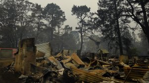 A home at Wingello in the Southern Highlands destroyed by fire on Saturday