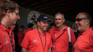 Shipmates:  Treasurer Josh Frydenberg, left, former ASX chief executive Elmer Funke Kupper and former Treasury secretary John Fraser at the Couta Boat Classic in 2016.