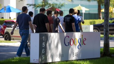 Entrance to Google's headquarters in Mountain View, near San Jose. Students are still attracted to working at Big Tech but others are shunning an industry they feel has questionable ethics.