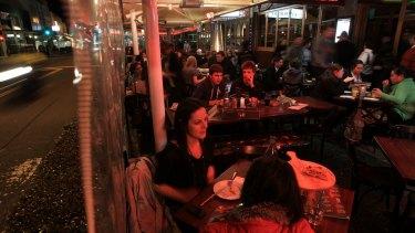 The al fresco restaurants along Eat Street in Parramatta face disruption from construction.