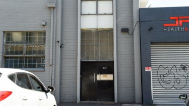 Bomber Thompson's converted warehouse in Port Melbourne that was raided by police in January 2018.