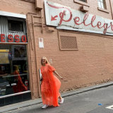 Kylie Minogue paid a visit to Melbourne institution Pellegrini's on Wednesday.