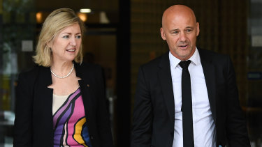 Gary Jubelin leaves Downing Centre Local Court in Sydney on Thursday.