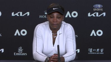 Serena Williams shortly before stepping out of her press conference at the Australian Open this year.