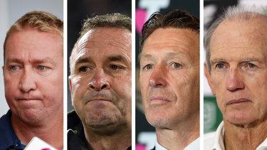 Trent Robinson, Ricky Stuart, Craig Bellamy and Wayne Bennett were part of the phone hook-up with Peter V'landys.