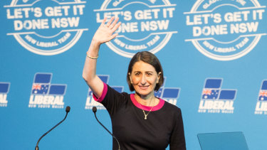 NSW Premier Gladys Berejiklian at the Liberal election campaign launch at Penrith on Sunday.