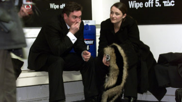 Eddie McGuire and his wife Carla after the 2002 grand final loss to Brisbane.
