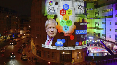 The results of the exit poll showing Boris Johnson's lead are projected onto the outside of Broadcasting House in London
