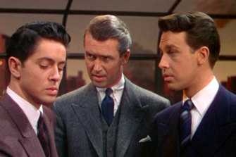 Farley Granger, James Stewart and John Dall in Alfred Hitchcock's Rope (1948).