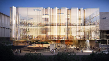 A design concept released last year for the Russell Street facade of the new South Bank Theater.