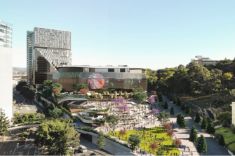 Concept art of the proposed Brisbane Live arena above the new underground Roma Street station.