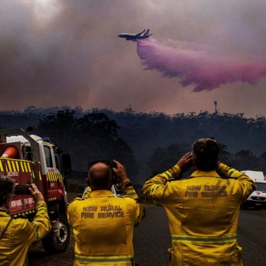 A customised fire-fighting 737 dumps retardant on a bushfire south of Port Macquarie in October.
