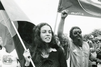 Bob Weatherall and Professor Marcia Langton - then an anthropology student at the University of Queensland.  They are pictured here in Brisbane protesting Queensland's Indigenous affairs policies ahead of the 1982 Commonwealth Games.