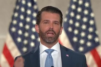 Donald Trump jnr speaks for his dad at a Republican event.