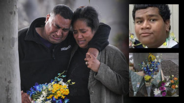The parents of stabbing victim Solomone Taufeulungaki (inset).