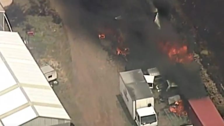 Aerial footage of the fire.