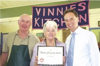 Rita receives a Flinders Community Award for her work at Vinnies Kitchen with Pat.
