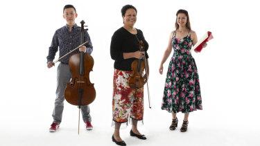 Musical trio Rock Paper Scissors: Wilma Smith, Yelian He and Yasmin Rowe