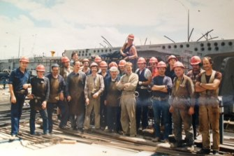 Jure Carapina (far left) working on the West Gate bridge whenit was extended to Kings Way in the 1980s.