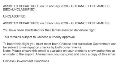 Part of an email sent to Australian citizens planning to evacuate Wuhan.