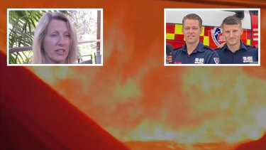Flames surround the fire truck. Cheryl Outred (inset left) feared for the life of her son, Rhys Outred (right, inset right), while Kayle Barton (left, inset right) radioed for help.