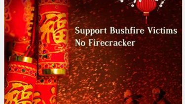 Posters urging people to refrain from releasing firecrackers during Chinese New Year.